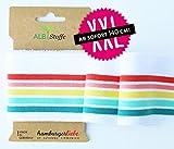 Albstoffe Cuff Me Rainbow 51 - Mono - fertiges Bündchen in Weiß Bunt Regenbogen Einhorn - Hamburger Liebe