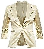 Eleganter Damenblazer Blazer Baumwolle Jäckchen Business Freizeit Party Jacke in 26 Farben 34 36 38 40 42, Farbe:Gold Metallic;Größe:XL-42