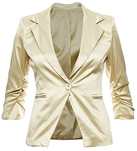 Eleganter Damenblazer Blazer Baumwolle Jäckchen Business Freizeit Party Jacke in 26 Farben 34 36 38 40 42, Farbe:Gold Metallic;Größe:M-38 -