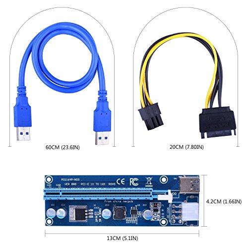 MagiDeal 30cm USB 3.0 pci-e Express 1x a 16x Alargador Tarjeta de Expansi/ón Adaptador de Cable Alimentaci/ón Herramientas