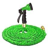 Yardsky Flexi Magie Wasserschlauch Flexibel Gartenschlauch Dehnbar Schlauchhosen Magic Garden Hose Expander 8 Arten Düse (Grün,15m/50FT)