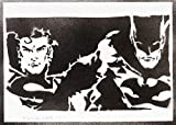 Poster Batman Et Superman Affiche Handmade Graffiti Street Art - Artwork