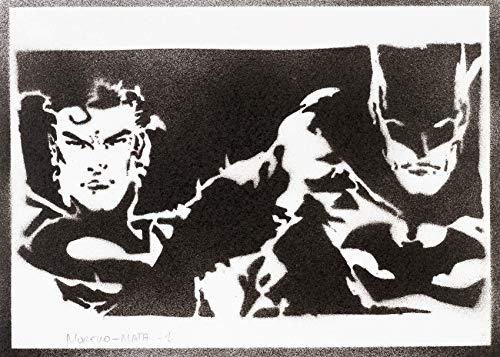 Superman und Batman Poster Plakat Handmade Graffiti Street Art - Artwork