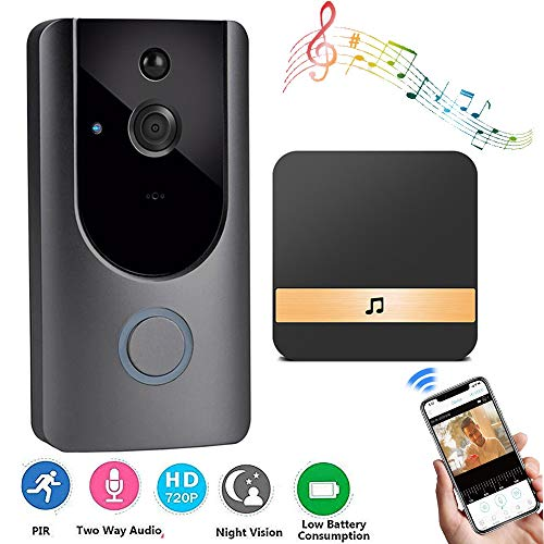 Drahtlose Smart Video Doorbell, Leegoal HD 720P WiFi Home Security Camera mit 2-Way Talk, PIR Motion Detection Night Vision App Control Support IOS und Android (Schwarz)