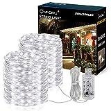 Onforu 20M LED Luz de Cadena, Guirnaldas Impermeable IP65, 8 Modos con Temporizador Tira Luminosa USB, 6000K Blanco Frío para Interior y Exterior Sala Jardín Árbol Navidad Boda Fiesta Decoración