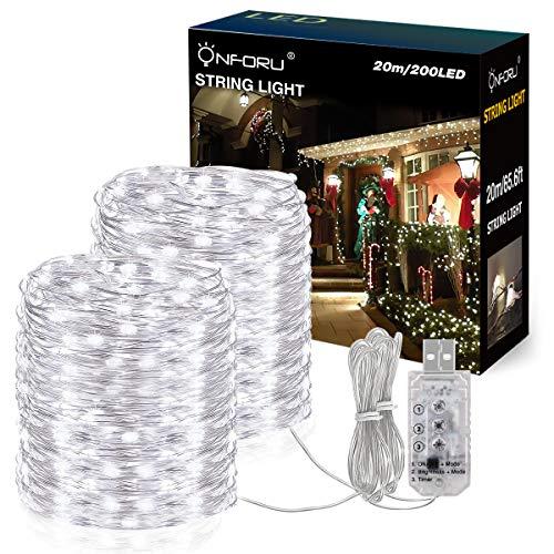 Onforu 20M USB LED Lichterkette, Dimmbar Kupferdraht Lichterkette mit 8 Modi, Timer, 200er Lichter, Außen und Innen Beleuchtung für Zimmer Party Deko, IP65 Wasserdicht Kaltweiß -