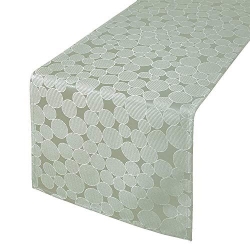 Tischläufer Tischdecke ROM, Kreis-Muster, 40x140 cm, grau