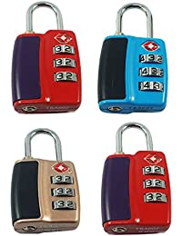 DOCOSS-Pack of 4-552-TSA Approved Lock 3 Digit for USA International Number Locks for Luggage Bag Travelling Password Locks Combination Lock Travel Locks Padlock (Assorted Colour)