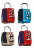 #3: DOCOSS-Pack Of 4-552-TSA Approved Lock 3 Digit For USA International Number Locks For luggage Bag Travelling Password Locks Combination Lock Travel Locks Padlock (assorted colour)