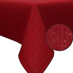 """ZOLLNER® Mantel antimanchas grande / mantel rectangular resinado, rojo burdeos, 140x220 m, disponible en varios colores y medidas, del especialista en textiles para hostelería, serie """"Perla"""""""