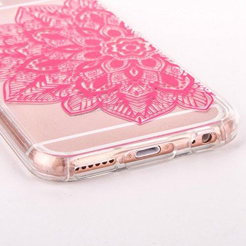 iPhone 6S Silicone Case,iPhone 6S Coque - Felfy Coque Souple Transparente TPU Silicone cadre et Plastic Back Case Premium Ultra-Light Ultra-Mince Skin de Protection Anti-Choc Bumper pour Apple iPhone  Rouge Fleur