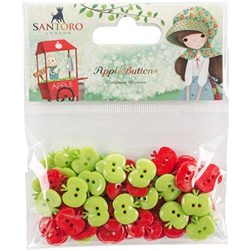Craft Consortium Santoro Kori Kumi Plastic Buttons 60/pkg-Apple -