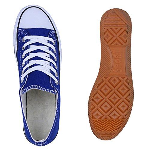 Sportliche Herren Sneakers Low Turnschuhe Textil Schuhe Flats Blau