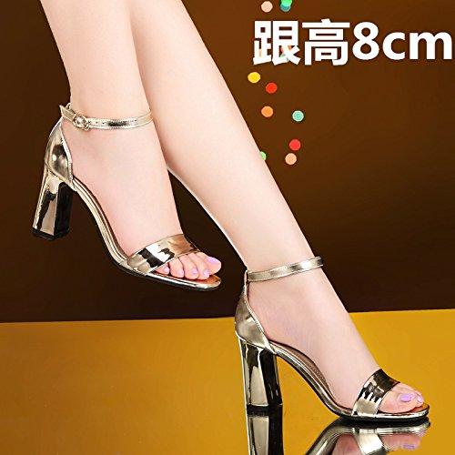 XY&GKDer Sommer Damen Sommer grob Heel Sandalen mit Frauen Mutter zur Arbeit gehen, komfortabel und schön 40 golden leather
