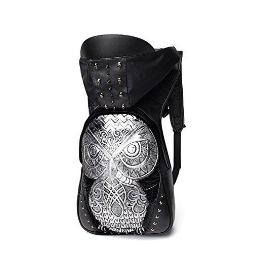 Fashion men's und europa wind doppel schulter tasche/owl hut rucksack/persönlichkeit doppel-umhängetasche-Schwarz Silber