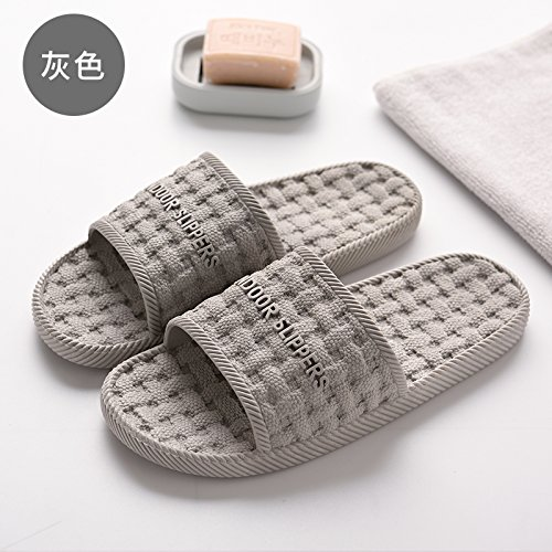 Fankou pantofole estate piscina grande casa in grandi uomini pantofole maschio piede massaggio home anti-slittamento,43-44, grigio