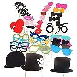Hrph 44 Stück Hochzeit Geburtstags-Party Photo Booth Props Brille Schnurrbart Lippen auf einem Stock
