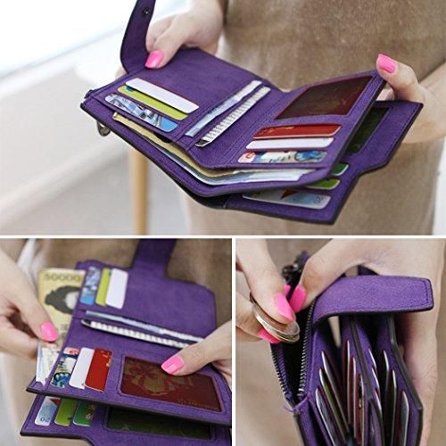 Borsa bag-All4you retro Ladies portafogli portamonete tasca organizer Pocket Small carta di credito titolare della frizione (viola) Rosa2