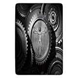 Bathroom Bath Rug Kitchen Floor Mat Carpet,Industrial Decor,Wheels of the System with Medieval Old Human Body Animation Device Gears of the Whole Theme,Grey,Flannel Microfiber Non-slip Soft Absorbent