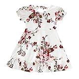EUCoo_ Kinder Kinderbekleidung 1-4 Jahre Mädchen neues Kleid Sommer pastoralen Stil Kurzarm Rüschen Blumenkleid Prinzessin Kleid(Weiß, 100)