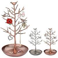 Itian Uccelli di metallo antichi albero Jewelry Display Stand orecchino bracciale anello collana titolare organizzatore Rack Tower (Vecchio Ottone)