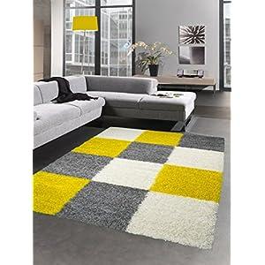 Shaggy Teppich Hochflor Langflor Bettvorleger Wohnzimmer Teppich Läufer  Karo Gelb Grau Creme Größe 80x150 Cm
