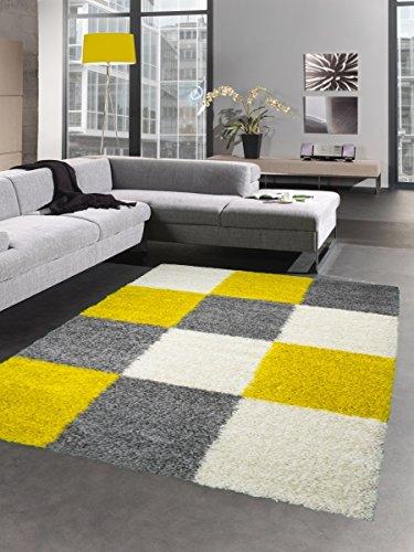 shaggy teppich hochflor langflor bettvorleger wohnzimmer teppich ... - Wohnzimmer Gelb Grau