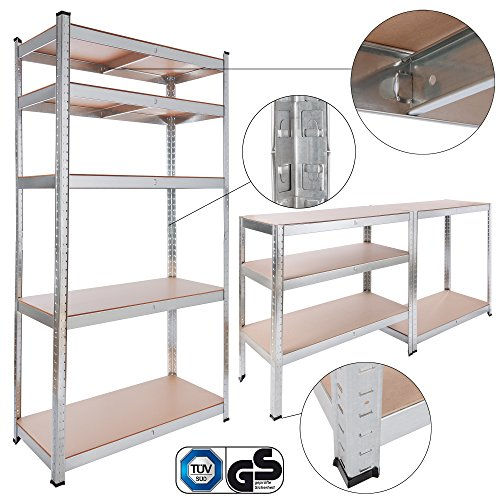 Arebos Schwerlastregale in verschiedene Größen / bis zu 875 kg Tragkraft / Einfache Montage durch Stecksystem (90x40x180 | 875kg | 0,63mm) Bücherregal Extra Regal