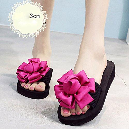 Estate Sandali 3.5cm - tacchi alti multicolori Femmina pantofole estive Scarpe da spiaggia con tacco alto Sandali di moda per 18-40 anni Colore / formato facoltativo Rose red-3cm