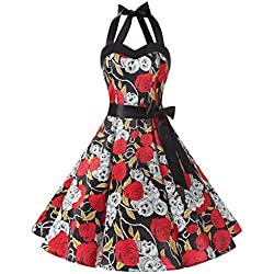 Rockabilly Polka Dots Audrey Dress Cosplay Halloween Dress Black Skull XS
