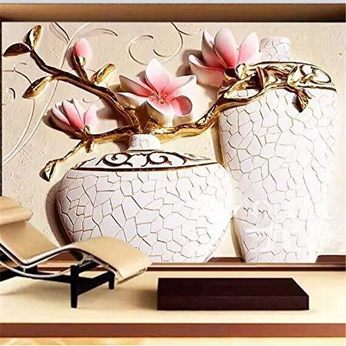 Fernsehhintergrundhintergrundpapiere Der Kundenspezifischen Tapete 3D Prägte Romantisches Wohnzimmer Der Orchideenvase Romantisches Wohnzimmer 450(L) x300(H) cm
