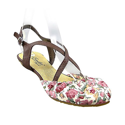 Damen Sandalen T-Strap | Flats Blumen Schnallen | Glitzer Riemchensandalen | Sommerschuhe Rot Blumen