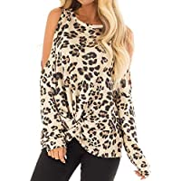 Luckycat Las Mujeres O-Cuello Estampado Leopardo Top Casual Camiseta FashionLong Manga Superior Blusa