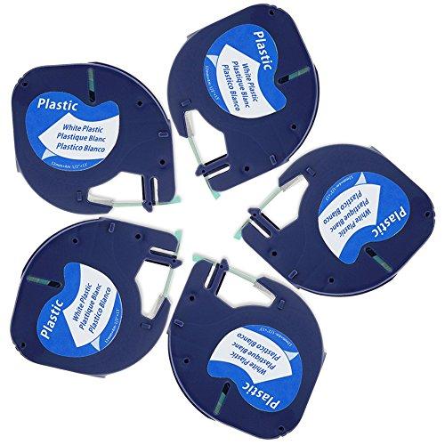 5x Etikettenband für Dymo LetraTag 91221 / 91201, Dymo S0721660 / S0721610, 12mm x 4m, Kunststoff Selbstklebend, schwarz auf weiß Schriftband Kompatibel mit Dymo LetraTag LT-100H LT-100T LT-110T QX 50 XR XM 2000 Plus