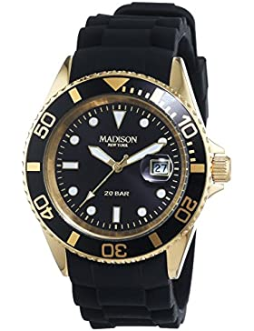 MADISON NEW YORK Unisex-Armbanduhr GLAMOR Analog Quarz Silikon G4789A1