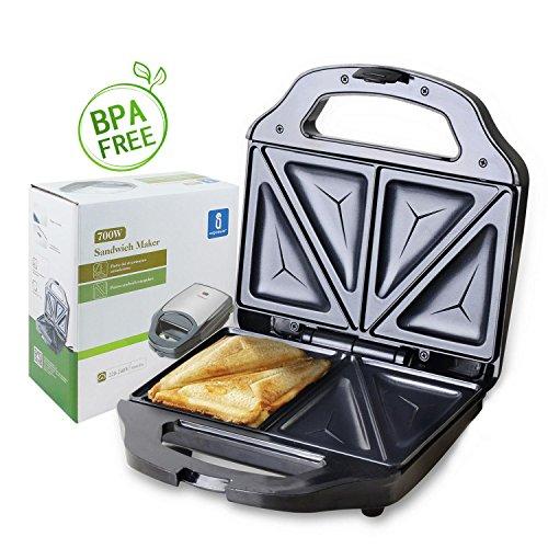 Aigostar Cieplo Steel 30CEX - Sandwich Toaster, 700 Watt, Toastplatten 23 x 13cm, BPA frei - Silber & Schwarz