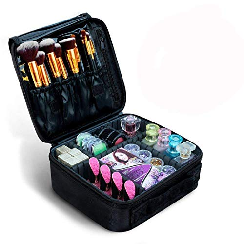 House of Quirk Makeup Cosmetic Storage Case Box with Adjustable Compartment, Black