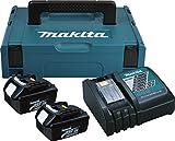 Makita 196693-0 Power Source Kit 3Ah (2Akkus, inc. Ladegerät und Koffer), Schwarz, Türkis