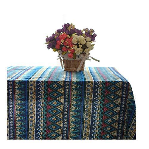 Küchenhelfer Mediterrane Tischdecke Couchtischdecke Baumwolle und Leinen gestreiftes Rechteck blau (Color : A, Size : 55.1 * 55.1in) - Blau Rechteck Tischdecke