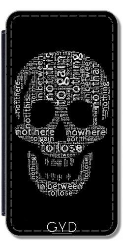 DesignedByIndependentArtists Leder Flip Case Tasche Hülle für Samsung Galaxy S9 (SM-G960) - Schädel Aus Wörtern by UtArt