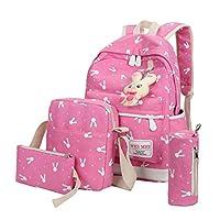 School Bags, SHOBDW 4 Sets Girls Cute Rabbit Animals Travel Backpack Shoulder Handbag