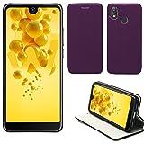 XEPTIO Wiko View 2 Hülle Tasche Leder Lila Cover mit Stand - Zubehör Etui View2 Dual Sim Flip Case Schutzhülle Smartphone 2018 (PU Leder, Handytasche Purple Violett) Accessories