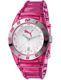 Puma Time Damen-Armbanduhr Disc Injection - S Translucent Pink Analog Quarz Plastik PU910662002