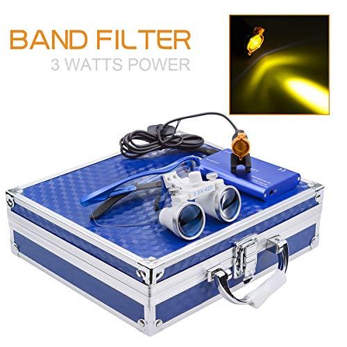 3W LED Scheinwerferlampe mit Filter + 3.5x 420mm Arbeitsabstand Chirurgische Binokularlupen Optisches Glas + Aluminiumbox Blau
