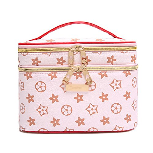 Cosmétique sac grande capacité portable boîte cosmétique multifonctions mignon voyage portable petit sac de rangement boîte de rangement (rose) , #2 , L
