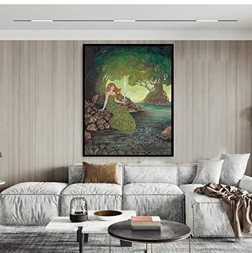 cptbtptp Die Dame des Sees Fine Wall Leinwand Gemälde Kunstdruck und Poster Pagan Mythology Medieval Renaissance Göttin Leinwand 40x60cm
