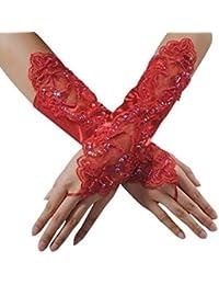 Cosanter Fingerlose Brauthandschuhe Satin Spitze Braut Handschuhe Spitze Hochzeit Satin Gloves für Braut Abend Party Rot