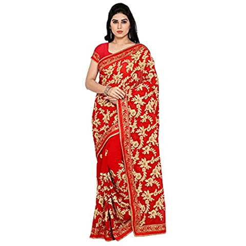 Styles Closet New Arrival Red Georgette Embroidered