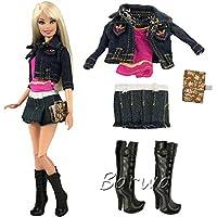 Miunana 1 Fashionista Traje de Vaquero Vestir Ropa Falda Jean Abrigo Camiseta Botas Cuaderno Cinturón Accesorios para Barbie Muñeca Doll