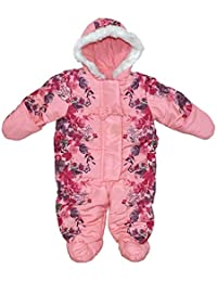 Active Girls Fleece-floral Print Padded Pramsuit With Mittens All In One Clothing, Shoes & Accessories